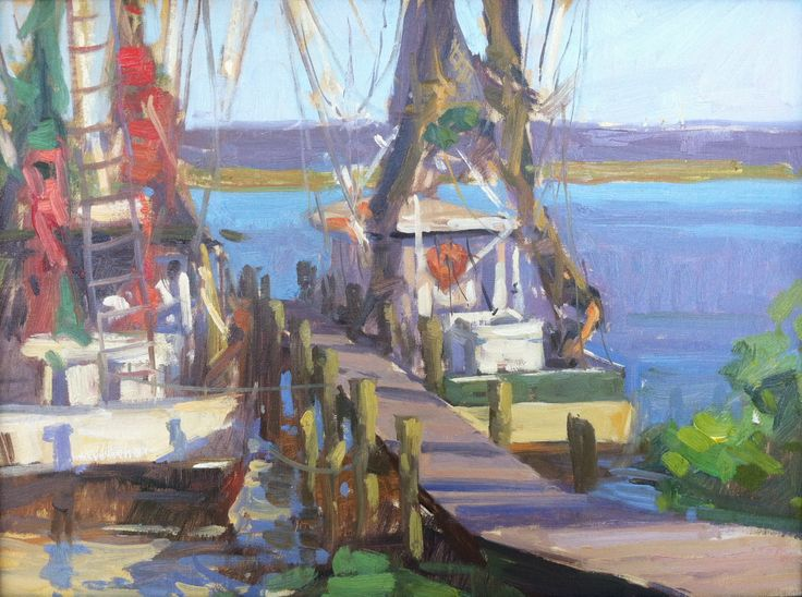 """Watchin' the Tide Roll In"", 12"" x 16"", Available Shrimp Boats in East Point, Florida's Forgotten Coast"