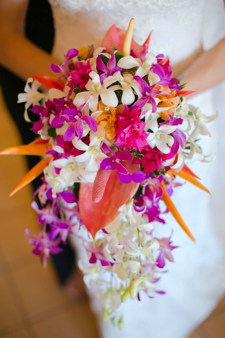 Outrigger Fiji Beach Resort Wedding Ideas Planning Inspiration Tropical Paradise Style Floral Design Planning Photography Bright Tropical Purple Bouquet Purple Pink Orange Fijian Magical