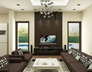 Lcd Wall Design With Wood