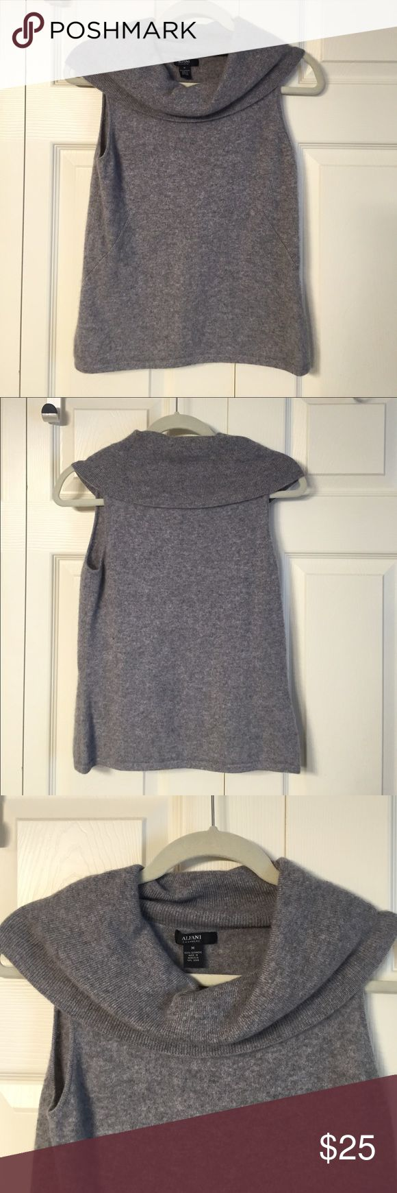 100% Cashmere Alfani cowl neck sleeveless sweater