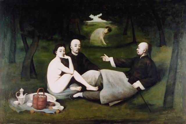 Series entitled After Master by Yin Xin.  Dejeuner Sur L'Herbe by Manet.