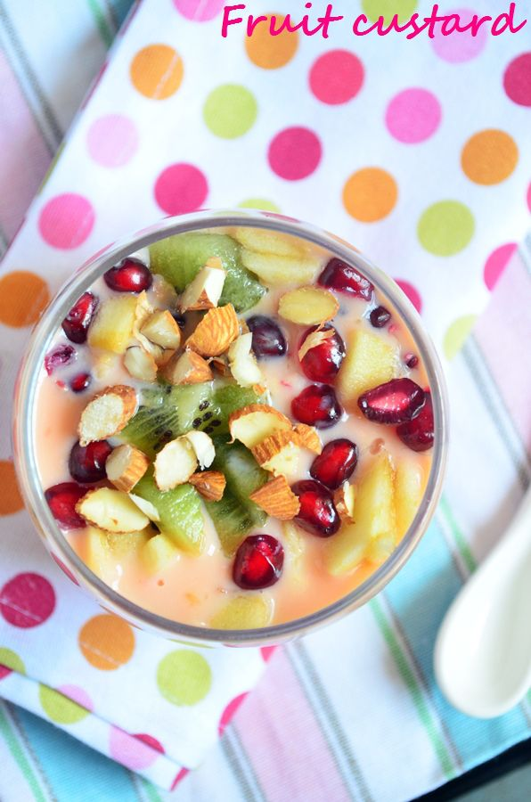 {New post} easy fruit custard recipe: Very delicious and simple dessert with loads of fresh fruit. Easy fruit salad with custard recipe @ http://cookclickndevour.com/2015/03/easy-fruit-custard-recipe.html