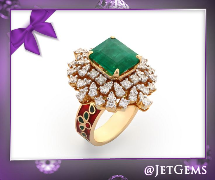 May – Month Of Emeralds Let your beauty blend with the eternal power of emeralds and diamonds inscribed in this spectacular Ring!!  Find your perfect ‪#‎LastMinuteGifts‬ right here.