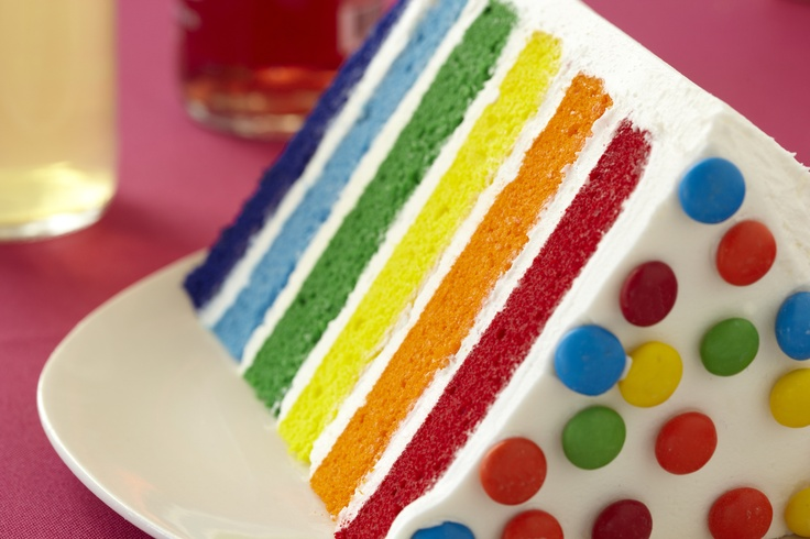 how to cut a rainbow cake