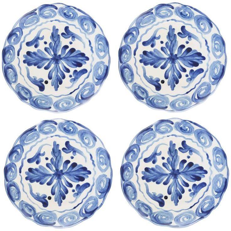 Handprinted Blue and White Mediterranean Dinner Plates, Set of Four 1