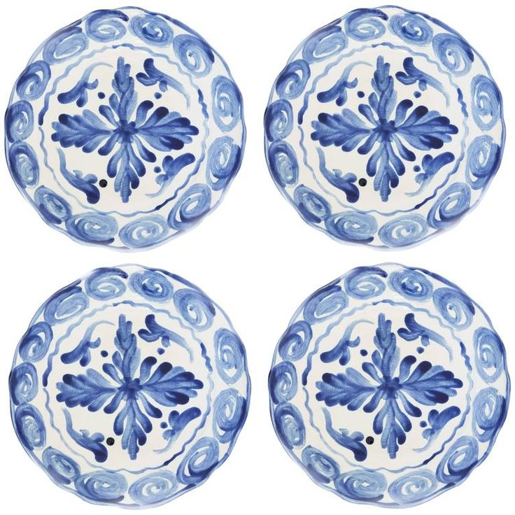 Handprinted Blue and White Mediterranean Dinner Plates, Set of Four 1