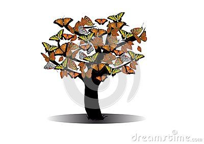Vector drawing Autumn tree with butterflies.