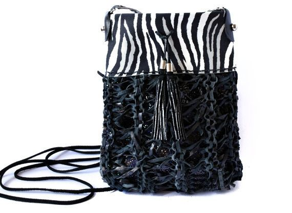 Black leather pouch zebra sling bag cell phone bag by Glad2Balive