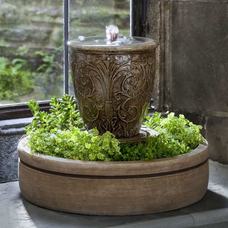 Have to have it. Campania Cast Stone Arabesque Spa Garden Terrace Fountain with Planter $229.99
