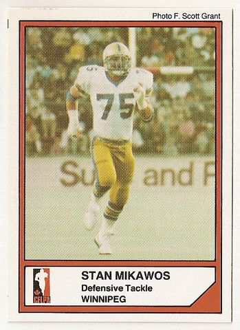 Stan Mikawos CFL card 1984 Jogo #79 Winnipeg Blue Bombers North Dakota Fighting…