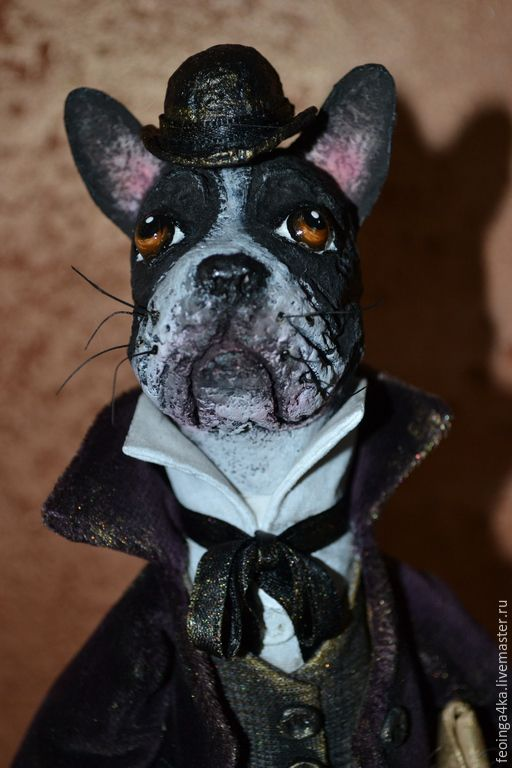 Купить Луи. - темно-серый, бульдог, бульдожка, собака, собака игрушка, джентельмен, старинный стиль