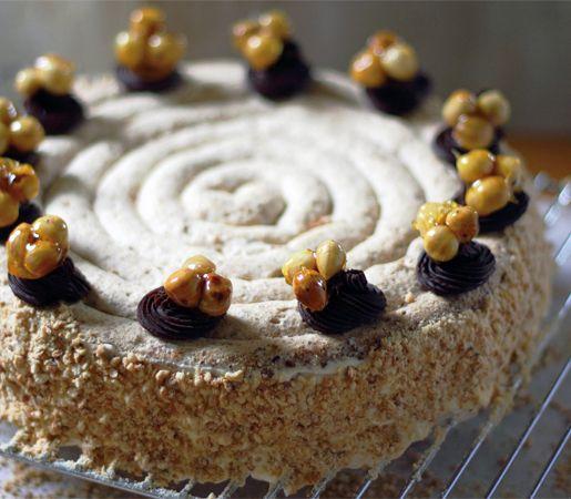 Seriously impress with this fancy French dessert of layers of hazelnut meringue, hazelnut praline, chocolate ganache and a coffee custard filling.