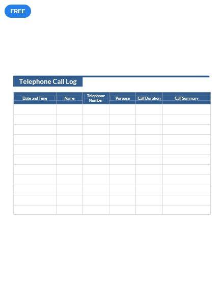 Free Telephone Call Log Sheet Templates  Designs 2019 Pinterest