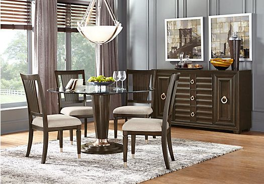 Cindy Crawford Home Michigan Avenue Brown 5 Pc Round Dining Room