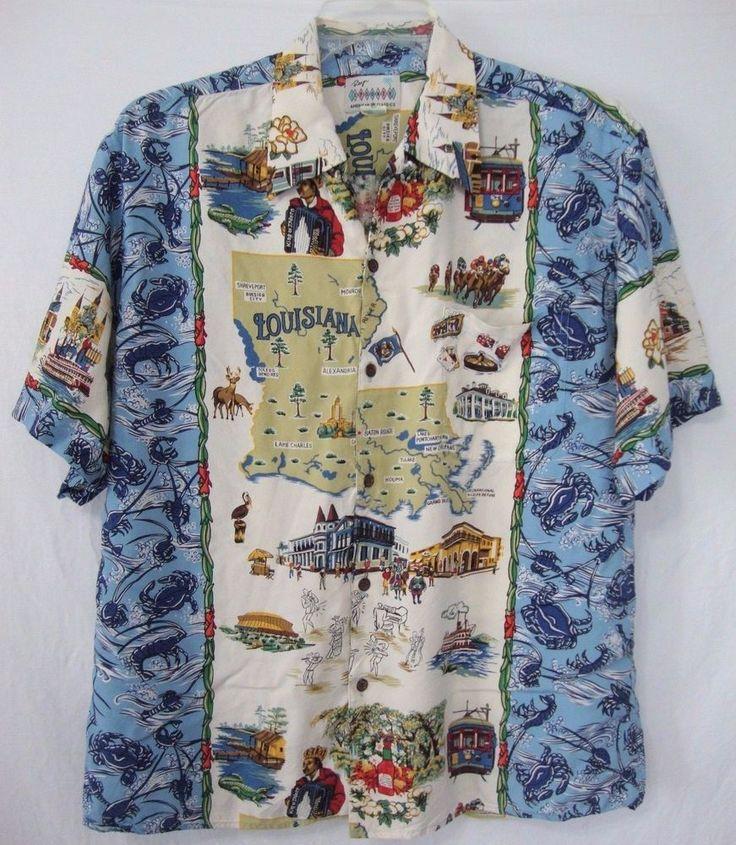 Louisiana Map Decor%0A Reyn Spooner Louisiana State Map American Classics Large Hawaiian Shirt  Rayon