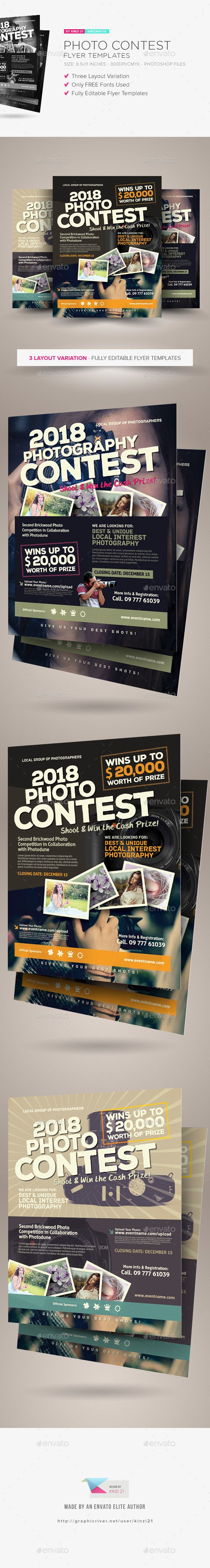 Photo Contest Flyer Templates — Photoshop PSD #photography #8.5x11 • Download ➝ https://graphicriver.net/item/photo-contest-flyer-templates/18183937?ref=pxcr