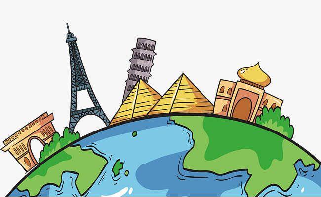 الكرتون مرسومة باليد الأرض السياحة برج إيفل الهرم المصري ضريح تاج تايلاند برج بيزا المائل انتقل السفر السي Painted Earth Map Painting Cartoon