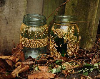Lot de 6 Bohème marocain Mason Jar teinté lanternes