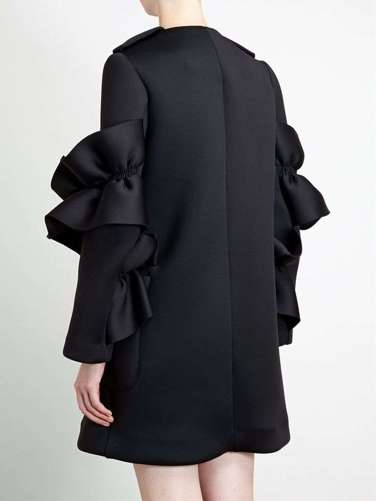 Black neoprene jacket with frill sleeve detail; sewing ideas; fabric manipulation // Simone Rocha