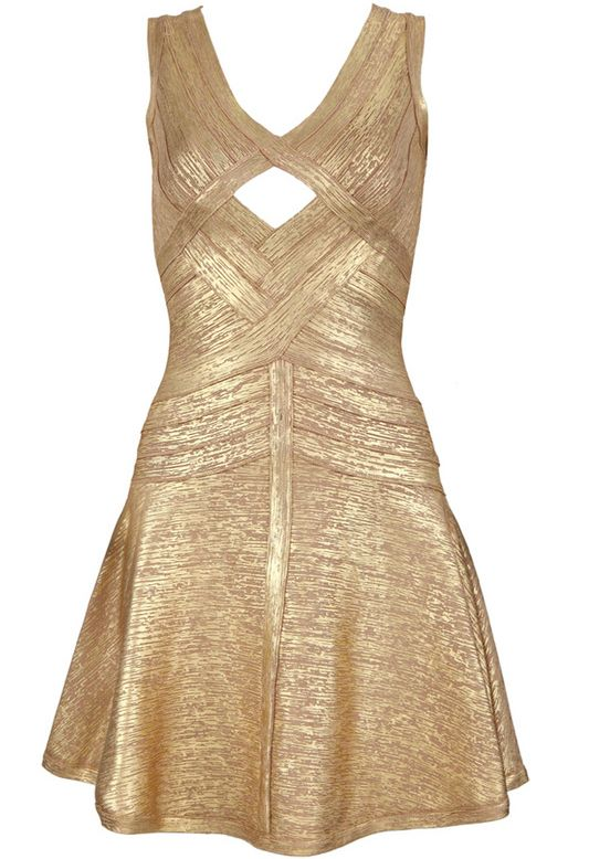 Gold V Neck Sleeveless Hollow Ruffle Dress