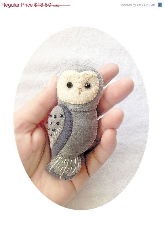 ON SALE Handmade Felt Owl Brooch Woodland Animal by Whimsylandia, $14.80