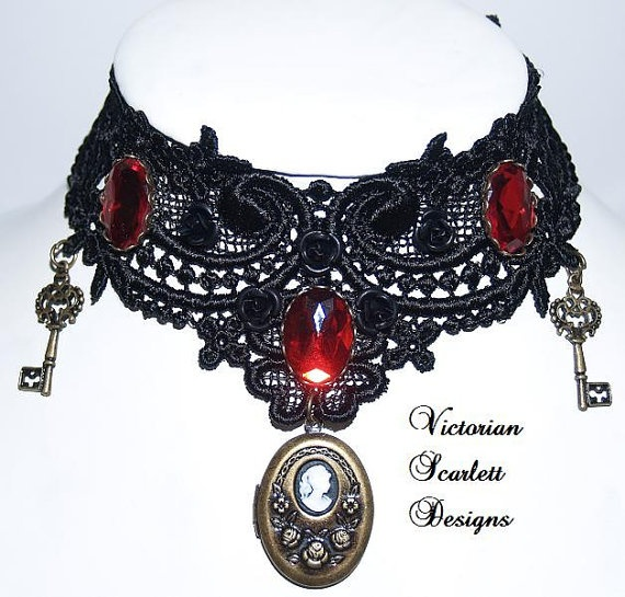 Victorian Steampunk inspired gothic choker Venice lace with bronze color locket, red stones and key dangles - K041
