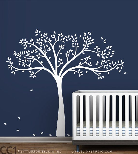 Monochromatic Fall Tree Extended Wall Decal - White Tree Decal, White Tree, Gray, Brown, Blue