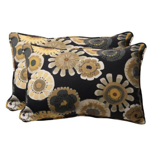 Amazing Pillow Perfect Decorative Black/Yellow Floral Rectangle Toss Pillow, 2-Pack