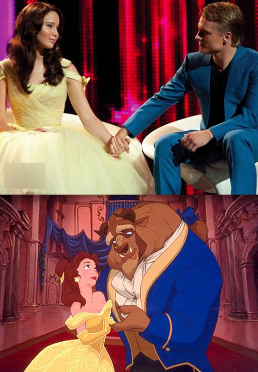 beauty and the beast parallel.: The Hunger Games, Favorite Things, Yellow Dresses, Disney Princesses, Funny, Hungergames, Favorite Movie, The Beast, Disney Movie