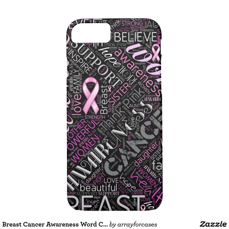 Breast Cancer Awareness Word Cloud iPhone Case Share an important message with this classy design that features a Breast Cancer Awareness word cloud. Some of the words included are: Hope, Love, Believe, Faith, Courage, Awareness, Sister, Mother, Daughter, Aunt, Grandmother, Powerful, Think Pink with pink Breast Cancer Awareness ribbons throughout. Ideal to call attention to this great cause. Choose any background color to suit your taste. More case sizes also available.