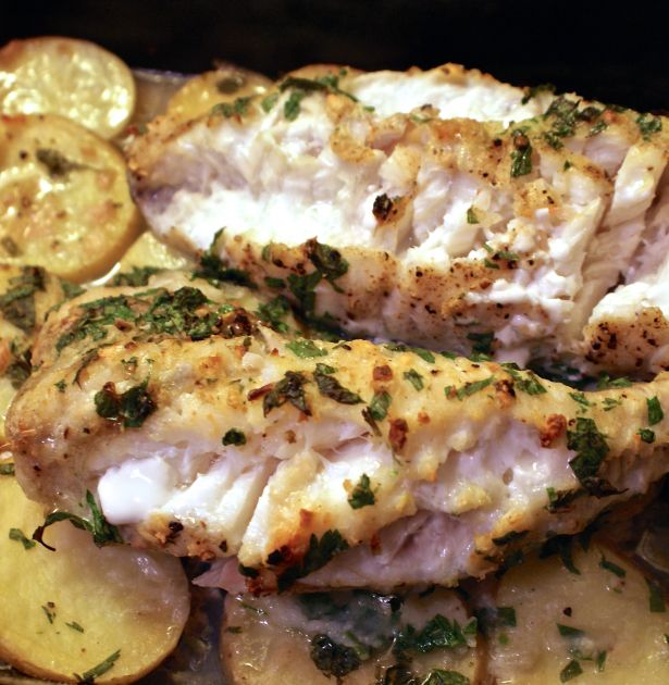 Monkfish Two Ways–Grilled and Oven Roasted Over Potatoes