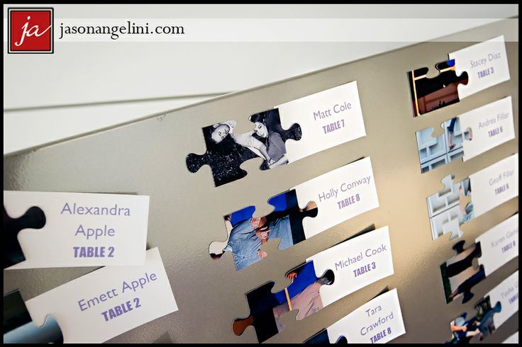 Puzzle piece escort cards | At the tables the pieces all fit together to form a picture :)