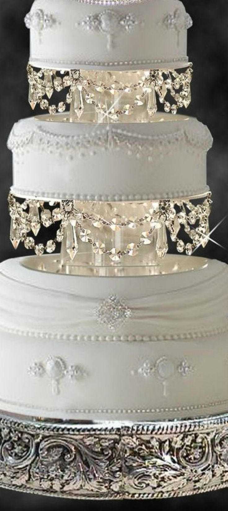 wedding cakes sophisticated cake with crystals and silver
