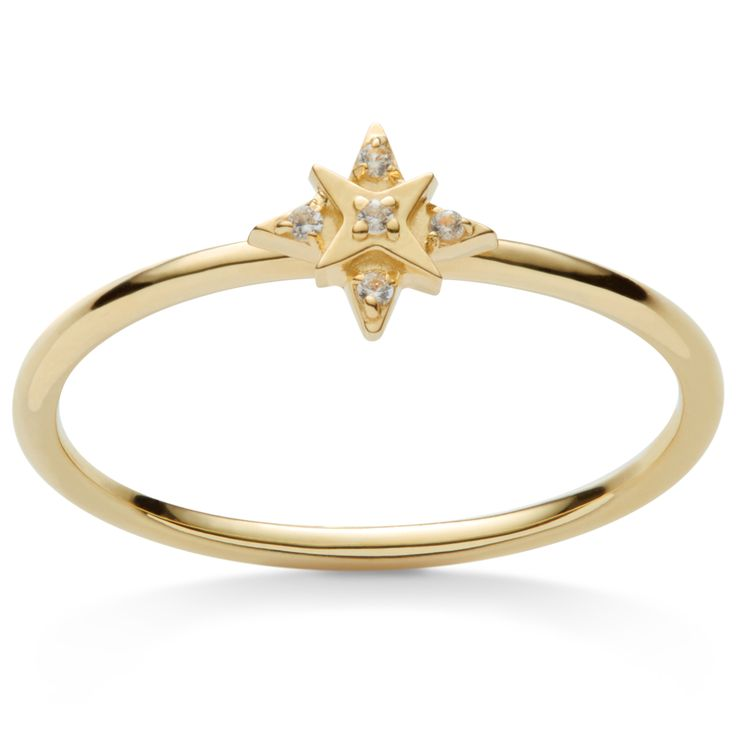 Charmerende ring formet som stjerner med 5 ædelsten på hver stjerne spids og en i midten.  Sterlingsølv (925) belagt med 18 karat guld, blankt poleret finish.  Varenummer: 4110a