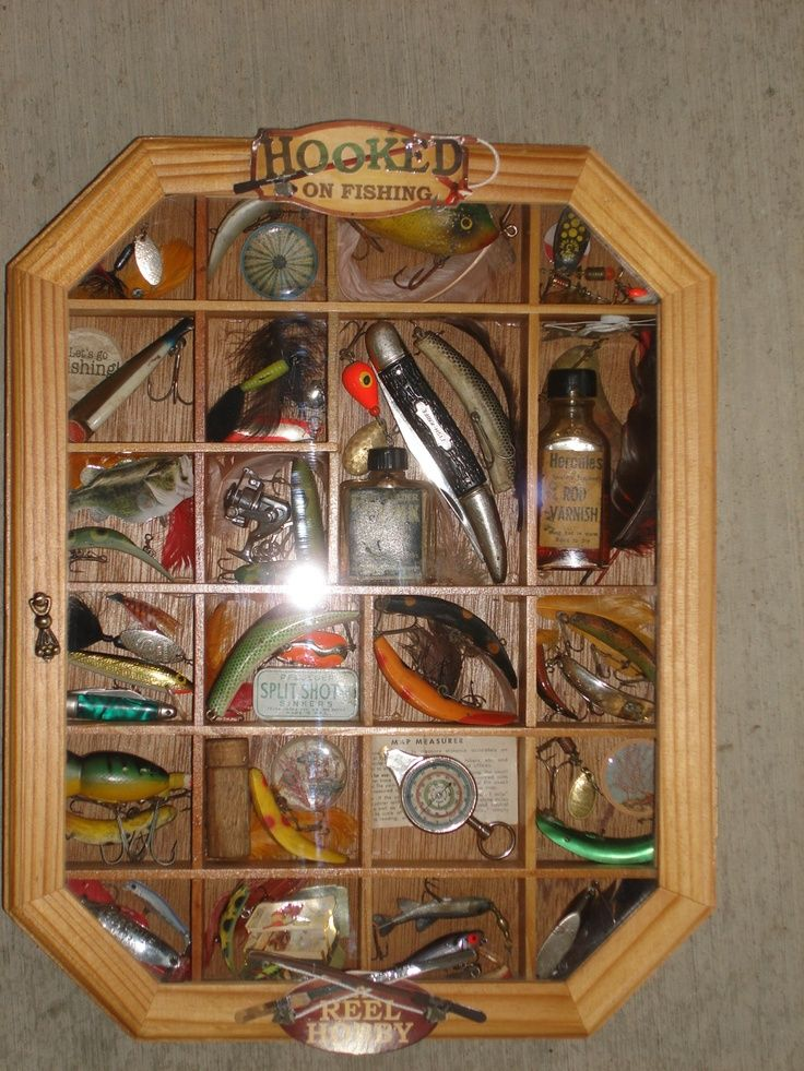 A collection of antique fishing lures and related items that I put together for the Fisherman who has everything else! #fishinglures