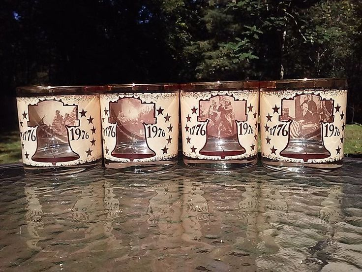 Vtg 1976 Declaration Congress USA Glass Set Of 4 See Thru Graphics Liberty Bell