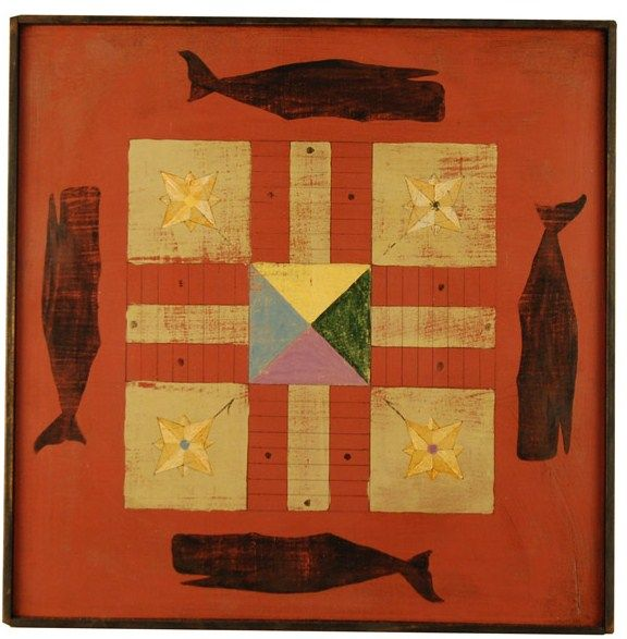 Antique whaling game board.