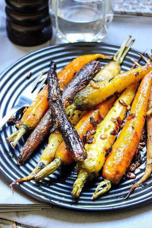 Roasted Rainbow Carrots with Honey, Cilantro