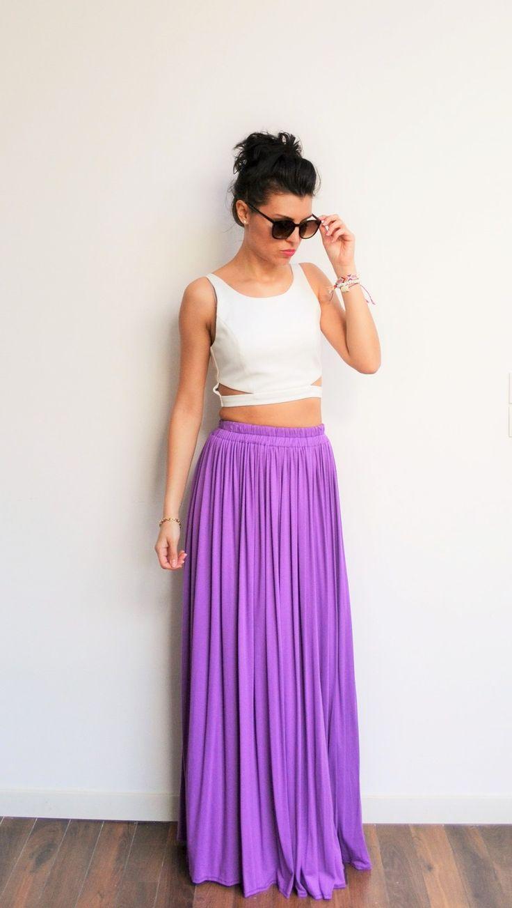 Maxi jupe longue violette en jersey fluide, taille haute et plissée droite style hippie chic et style bohème : Jupe par menina-for-mathis