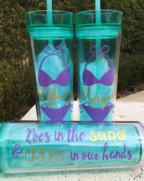 Bachelorette party tumblers, personalized bachelorette cups, beach bachelorette, bridesmaid glasses, girl's trip, senior trip