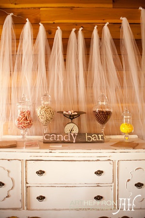 love the tulle backdrop - candy buffet in all shades of cream, gold and a little bit of caramel.