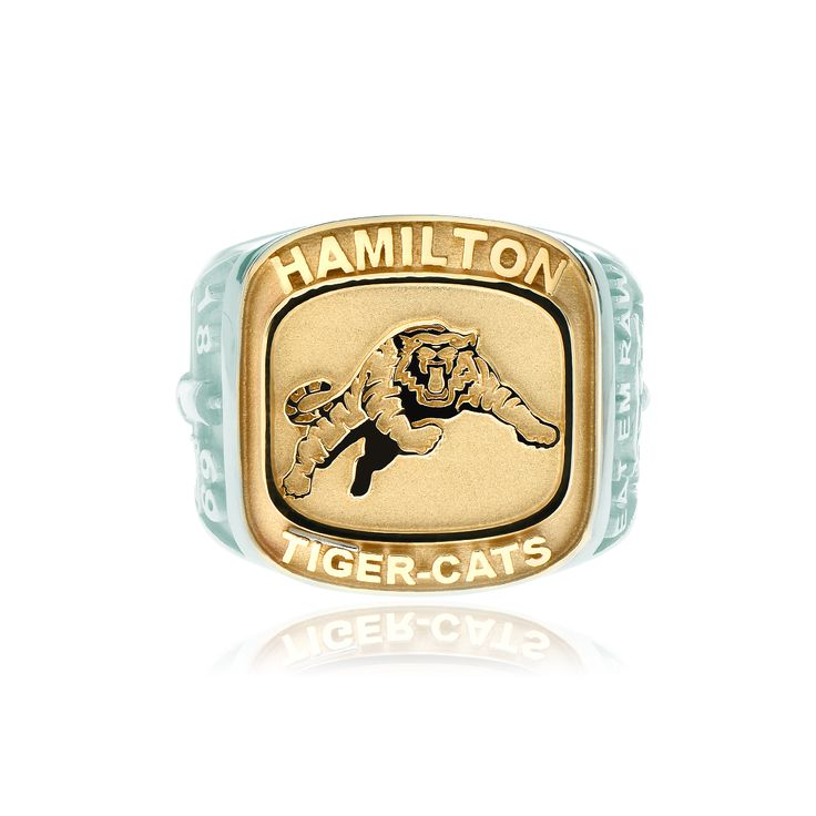 Men's large 10kt yellow gold and sterling silver two-tone Hamilton Tiger-Cats ring. Available in sizes 9.5, 10.5 or 11.5. Can be ordered in other sizes, inquire to learn more.