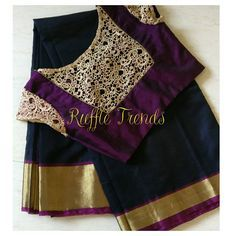 Best customised blouses with Trending sarees only at ruffletrends