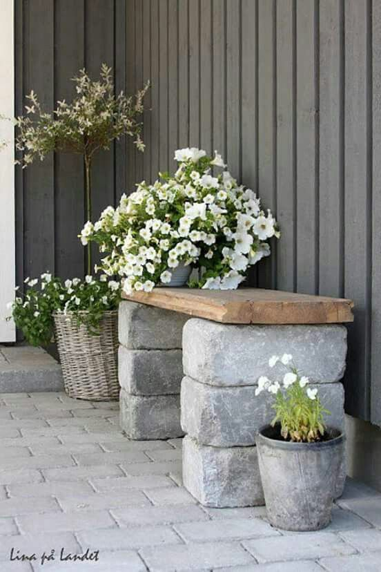 #diy #outdoor #seat - banc en pierres & planche de bois