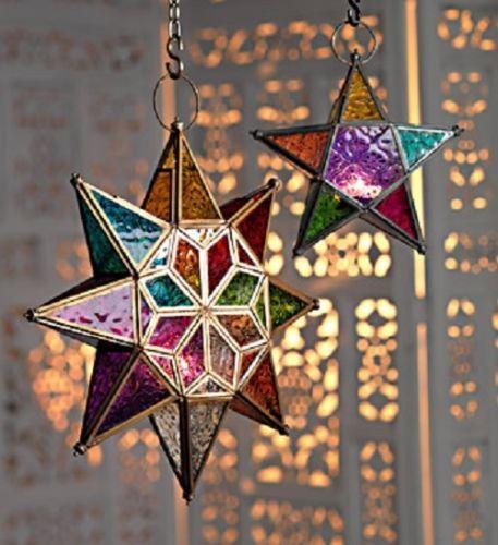 MOROCCAN-STYLE-STAR-HANGING-GLASS-LANTERN-TEA-LIGHT-HOLDER-COLOURED-HOME-GARDEN