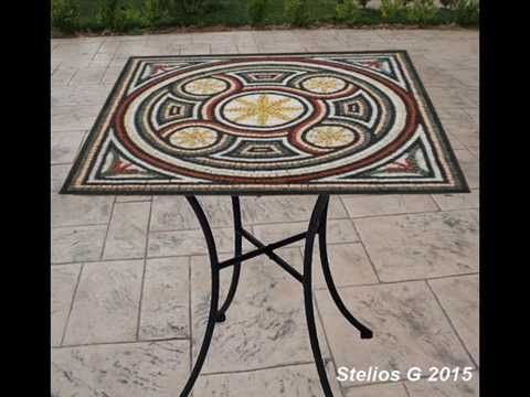 Making Mosaics table with marble mosaic