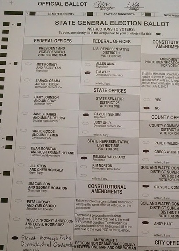 Planet Money: Economist-Approved Presidential Candidate Gets One Vote  http://www.npr.org/blogs/money/2012/11/07/164601225/economist-approved-fake-presidential-candidate-gets-one-vote