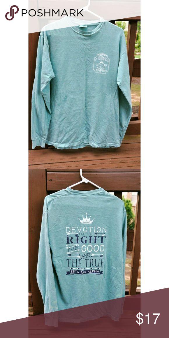 Long sleeve Zeta Tau Alpha shirt Long sleeve comfort color shirt. Part of the creed on the back. Fits medium. Comfort Colors Tops Tees - Long Sleeve