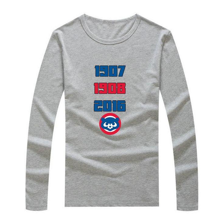 2017 Winter Amazing Inspiring World Series Title Chicago Men T-Shirt Long Sleeve Cubs Men's 1907 1908 2016 Three times W1125003