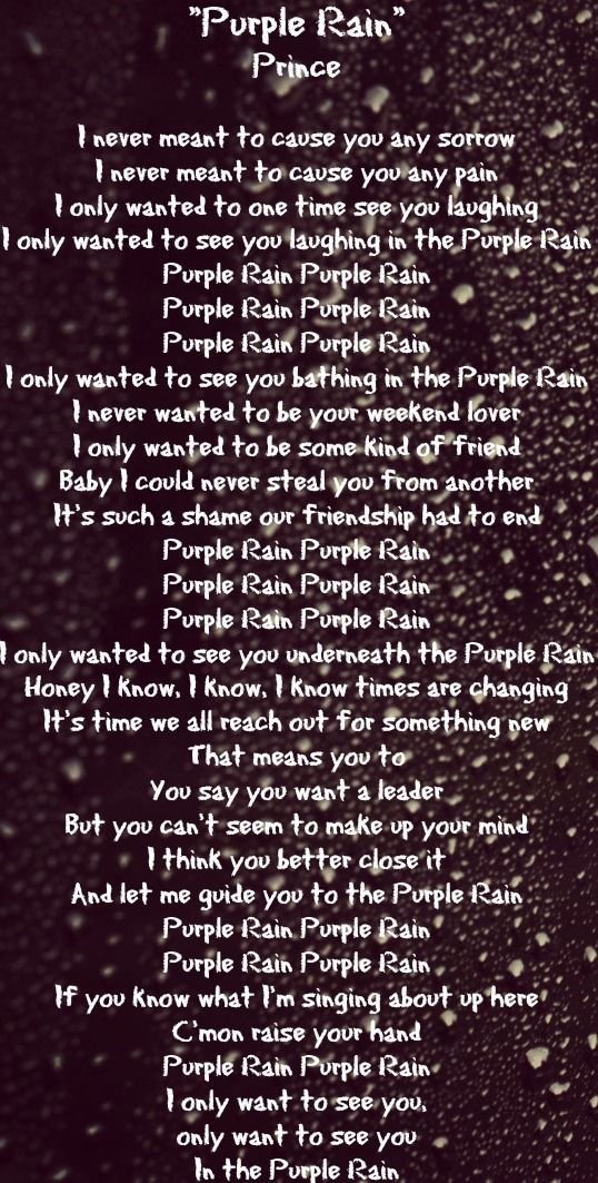 Lyric rain song lyrics : Best 25+ Prince purple rain lyrics ideas on Pinterest | Purple ...